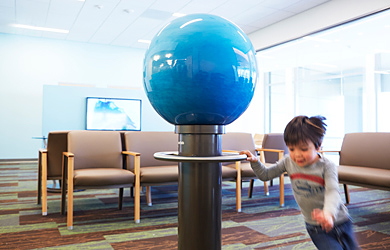 Spinning globe in waiting room